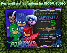 PJ Masks Invitation-PJ Masks Birthday Party PJ by VIGOVSTUDIO