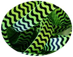 5 yards 3/8 inch Lime and Black wavy stripes by polkadotribbonspot, $3.40