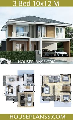 House plans idea with 3 bedrooms - House Plans Sam House Plans 2 Storey, 3d House Plans, 2 Storey House Design, Model House Plan, House Layout Plans, Bungalow House Plans, Bungalow House Design, Dream House Plans, House Layouts