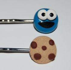 Cookie Monster Bobby pinsHandmade from polymer clay by FaithP3, $6.99