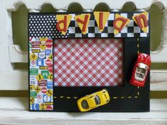 i could make this a dollar store project!  Hot Wheels Race Cars Frame Boys Room
