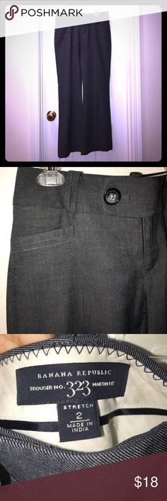 BANANA REPUBLIC Dress Slacks Trousers 2 Stretch 🌸 These gorgeous dark gray trousers by Banana Republic are in Like New condition.  They are truly stylish and are lightweight enough for summer or fall. 🌷 Cotton Wool blend. Martin fit. Banana Republic Pants Trousers