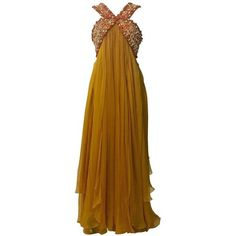 Preowned Christian Dior Resort 2009 Runway Marigold Yellow Orange... ($1,795) ❤ liked on Polyvore featuring dresses, gowns, evening gowns, yellow, halter dress, beaded evening gowns, yellow ball gown, empire waist gown and halter top