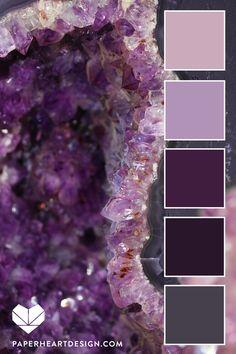 Geode Amethyst Color Palette - Re-Wilding Purple Color Schemes, Color Schemes Colour Palettes, Purple Palette, Colour Pallette, Color Palate, Color Combos, Nature Color Palette, Design Palette, Amethyst Color