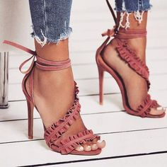 Straps Ankle Lace Up Open Toe Stiletto High Heels Sandals - Sapatos Femininos High Heels Stilettos, Stiletto Heels, Shoes Heels, Heeled Sandals, Strap Sandals, Ankle Heels, Classy Heels, Peep Toe Heels, Louboutin Shoes