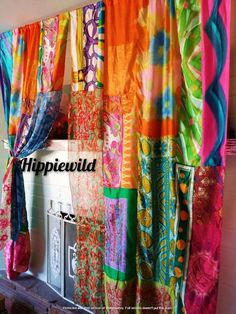 Indian Curtains, Patchwork Curtains, Bohemian Curtains, Colorful Curtains, Bohemian Decor, Boho Chic, Unique Curtains, Silk Curtains, Shower Curtains