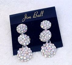 Graduating Tiers of AB Crystal Pave Dangle Earrings