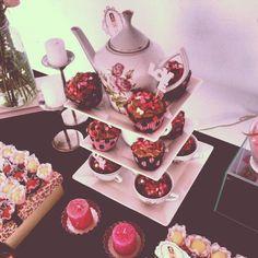 Cha de Lingerie Bridal Shower ~ Sweets Display #bridalshower #bridal #shower #sweets #display #pink + #brown @WedFunApps ♥'s