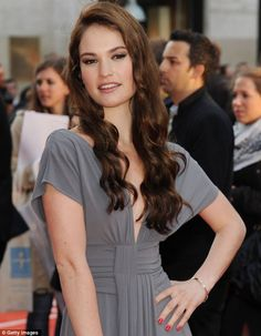Lily James + Gray Gown