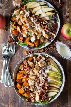 Paleo butternut apple chicken salad topped with toasted pecans and a creamy dairy free maple cider dressing that's perfect for lunch or dinner.