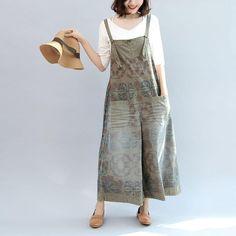 Plus Size Jumpsuit, Pant Jumpsuit, Wooden Picture, Summer Prints, 2017 Summer, Cotton Pants, Linen Fabric, Printed Cotton, Overalls
