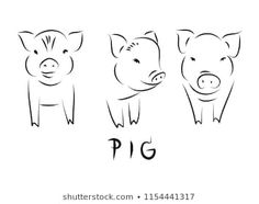 Drawing Doodle Easy line drawing of a cute pig, year of pig linear style and Hand drawn Vector illustrations, character design outline collection, cartoon doodle style. Outline Drawings, Cartoon Drawings, Animal Drawings, Easy Drawings, Simple Doodles, Cute Doodles, Pig Drawing, Drawing Ideas, Skin Paint