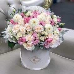 Send Mixed Flowers to Los Angeles - JLF Flower Boutique White Spray Roses, White Dahlias, Pink Tulips, Flower Box Gift, Flower Boxes, My Flower, Beautiful Bouquet Of Flowers, Beautiful Flower Arrangements, Floral Arrangements