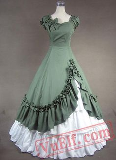 Unique, Elegant Designer Green and White Sweetheart Cotton Victorian Dress for Full Selection of gothic victorian lolita dresses, Tailor Made, Fast Shipping. Buy Green and White Sweetheart Cotton Victorian Dress Now! 1800s Dresses, Indian Gowns Dresses, Old Dresses, Ball Gown Dresses, Pretty Dresses, Vintage Dresses, Beautiful Dresses, Vintage Outfits, Dress Up