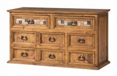 Meubles Buffet en Bois de Pin : Collection MARBLE à 8 Tiroirs