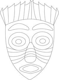 Red Indian printable coloring page for kids 2 - Coloring Printable Masks Coloring Pages To Print, Printable Coloring Pages, Adult Coloring Pages, Coloring Pages For Kids, Kids Coloring, African Art Projects, African Crafts, Mascara Papel Mache, Mayan Mask