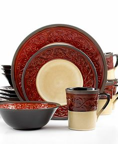 Signature Living Signal Hill Burgundy Set, Service for 4 - Casual Dinnerware - Dining & Entertaining - Macy's Stoneware Dinnerware Sets, China Dinnerware, Tableware, Kitchenware, Gibson Dinnerware, Serveware, Thomson Pottery, Casual Dinnerware Sets, Dinnerware Ideas