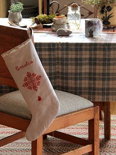 Cross stitched stocking by Posie Gets Cozy: running out of wall space is not a problem! So many ideas for our festive stitches