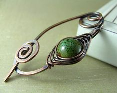 Wire Shawl Pin Copper Scarf Sweater Pin Hand Forged Fibula Wire Wrapped Jewelry Wire Work Handmade