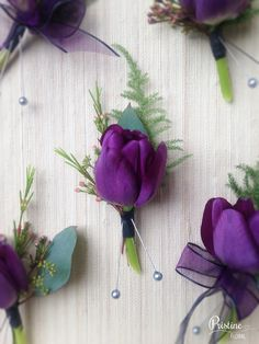 Purple Tulip Boutonnieres