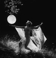 Lorna Rode dances beneath a full moon, 1938.