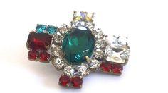 Vintage Rhinestone Emerald Glass Button  by CrimsonVintique