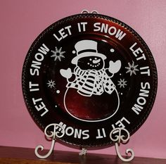 Let It Snow  Christmas Charger Plate by VinylDesignsByCJ on Etsy,