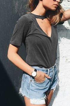 Casual Knit Cutout Crew-neck Tees in Grey  -YOINS