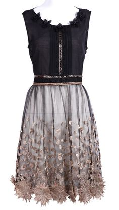 Dressy Black Sleeveless Bead Embroidery Applique Dress - check out the adorable flowers at the bottom of this dress!