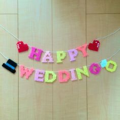 Happy Wedding garland perler beads by * Maco *