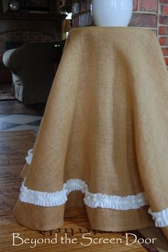 A Burlap Table Skirt and a Pinteresting Question | Beyond the Screen Door