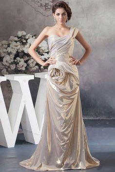 A-ligne une épaule plissée avec traîner éclair dans le dos des robes de soirée