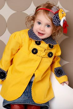 Spring Summer 2012-Little Girl Jacket with High Collar, Buttons-Puff Sleeves and buttons-Honey Mustard Yellow Navy Blue-12-18m, 2T, 3T, 4T. via Etsy.