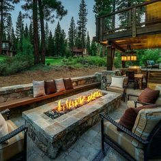 Patio with beautiful firepit