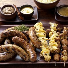 Sausage Medley with Mushroom and Onion Kabobs