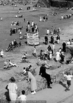 Photo of Newquay, Ice Cream Stall, Towan Beach 1925 Newquay Cornwall, Devon And Cornwall, Cornwall England, Cornish Beaches, Cornish Coast, Nostalgic Images, British Summer, Holiday Resort, British History