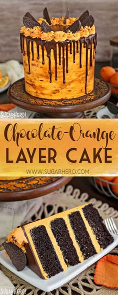 If you love chocolate-orange flavors, this Chocolate Orange Cake is for you! It's a delicious chocolate cake filled with tangy orange buttercream and topped with chocolate oranges. Chocolate Filling For Cake, Tasty Chocolate Cake, Chocolate Desserts, Chocolate And Orange Cupcakes, Chocolate Cake Fillings, Chocolate Bowls, Chocolate Decorations, Cupcake Recipes, Cupcake Cakes