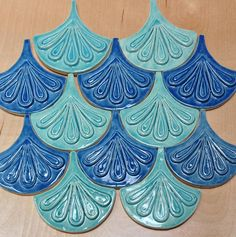 Moroccan Fish Scale tile, 1 square foot 12 tile mixed deep blue and sea green, handmade relief tile, for fireplace, kitchen or bath Geometric Tiles, Geometric Shapes, Mermaid Tile, Fish Scale Tile, Craftsman Tile, Fish Scales, Handmade Tiles, Fireplace Kitchen, Moroccan
