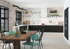Bilderesultat for lite sort kjøkken Decor, Furniture, Table, Kitchen, Home, Home Decor, Desk
