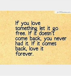 If you love something let it go free.