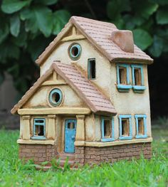 Grace's House (blue and yellow trim) | Harry Tanner Design Miniature clay house…