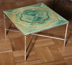 A Faux Malachite and Silver Plate Table Now this looks earthy ;)