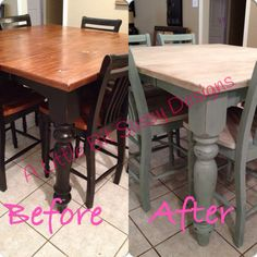 My kitchen table redo! #anniesloanchalkpaint duck egg and pure white