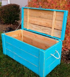 Turquoise Teal Hope Chest / Toy Chest. $400.00, via Etsy.