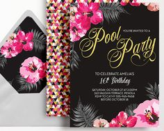 Pool Party Invitation Pink Black Gold Tropical Hibiscus Sweet 16 by WestminsterPaperCo