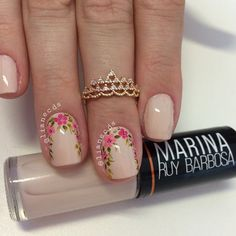 Unhas_decoradas unhas postiças, unhas francesinhas, u Manicure And Pedicure, Gel Nails, Cute Nails, Pretty Nails, Nailart, Nail Art Pictures, Flower Nail Art, Creative Nails, Nails Inspiration