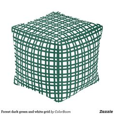 Forest dark green and white grid pouf Purple Cushions, Green Pillows, Black And White Pillows, Blue And White, White Home Decor, Plum Purple, Decorative Cushions, Grid, Indigo Blue