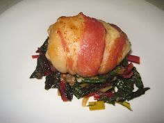 Bacon wrapped Cheddar Chicken over Rainbow Chard | Boys and Beets