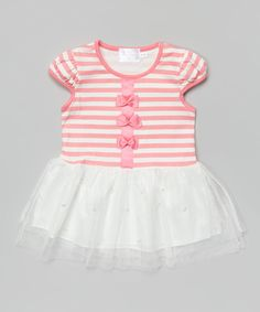 Loving this Pink Stripe Bow A-Line Dress - Infant, Toddler & Girls on #zulily! #zulilyfinds