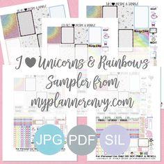 Free Printable I Heart Unicorns & Rainbows Sampler from myplannerenvy.com